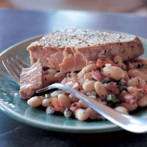 Seared Ahi Tuna with Warm White Bean Salad