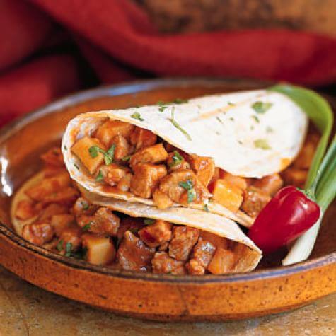 Guajillo-Spiked Pork-and-Potato Tacos