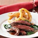 Grilled Flat-Iron Steaks, Semolina Onion Rings & Creamy Truffled Spinach