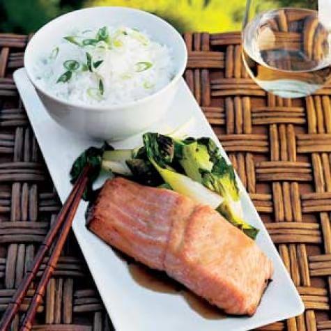 Planked Miso-Glazed Salmon with Bok Choy