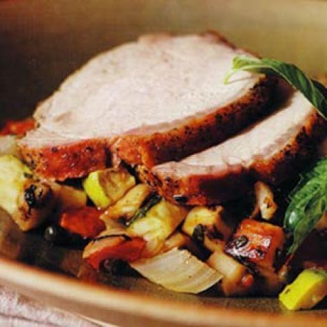 Spice-Rubbed Pork Loin with Ratatouille