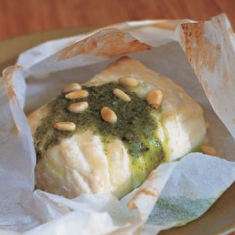 Halibut in Parchment with Basil Oil