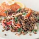 Green Lentil Salad with Red Peppers and Shallots
