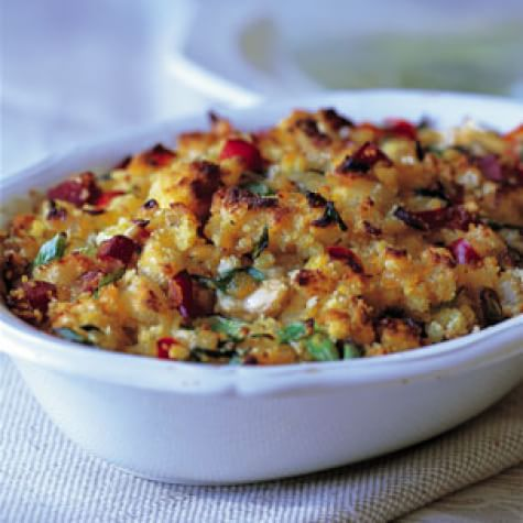 Corn Bread Dressing with Oysters and Ham