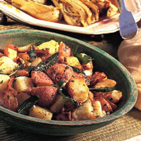 Potatoes Fried with Garlic and Sage
