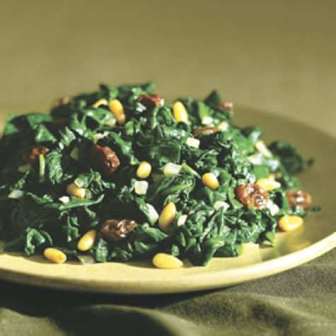 Spinach Sautéed with Raisins and Pine Nuts