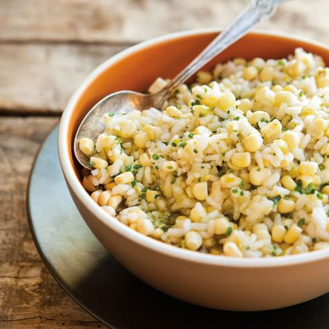 Risotto with Fresh Corn and Basil Oil