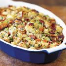 Crunchy Bread Dressing with Bacon and Leeks