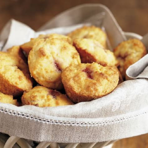Hazelnut Muffins with Strawberry Jam