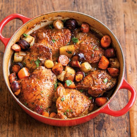 Porter-Braised Chicken Thighs with Root Vegetables