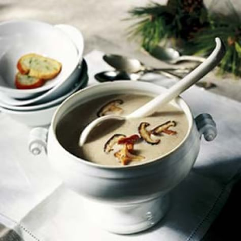 Wild Mushroom Soup with Blue Cheese Toasts