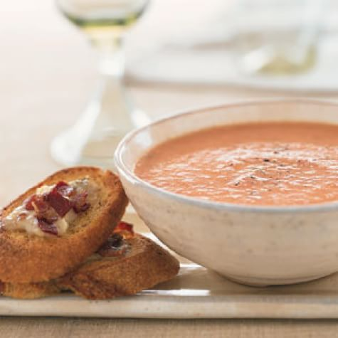 Cream of Tomato Soup with Pancetta