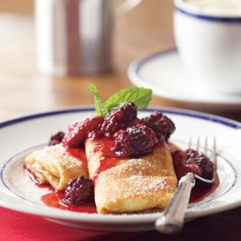 Ricotta Blintzes with Berry Compote