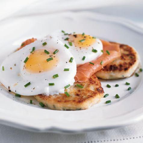 Potato Pancakes with Smoked Salmon and Poached Eggs