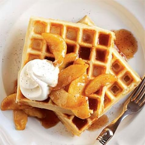 Cinnamon Waffles with Caramelized Apples