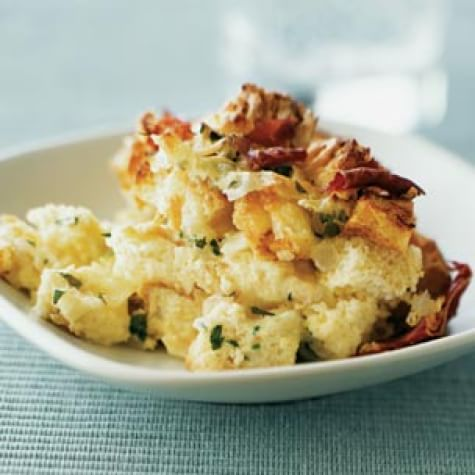 Savory Brioche Pudding with Prosciutto