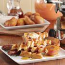 Waffles with Honey-Caramelized Peaches & Crème Fraiche