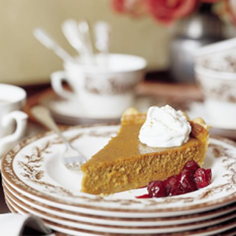Creamy Pumpkin Pie with Poached Cranberries