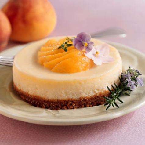 Crème Fraîche Cheesecakes with Freestone Peaches