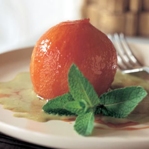 Roasted Peaches with Pistachio Crème Anglaise