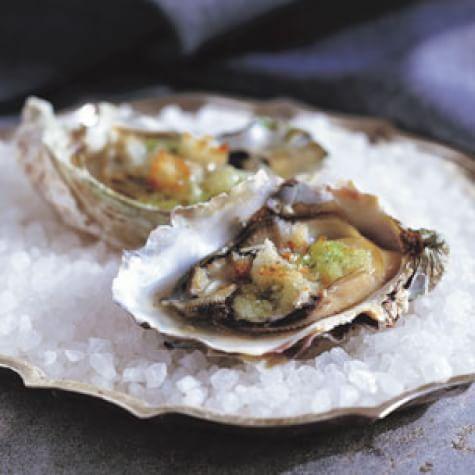 Oysters with a Garlic-Tarragon Crust