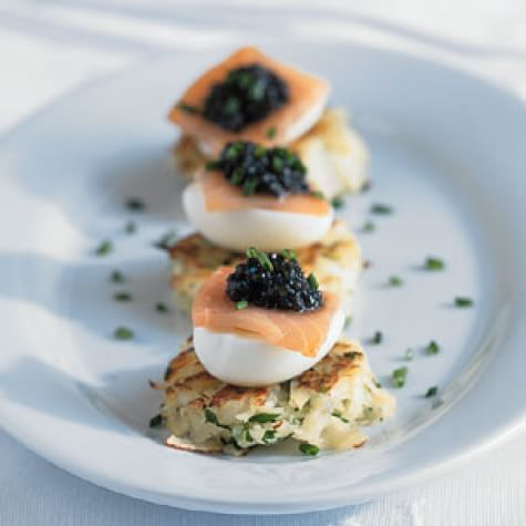 Potato Latkes with Smoked Salmon, Quail Eggs and Sevruga Caviar