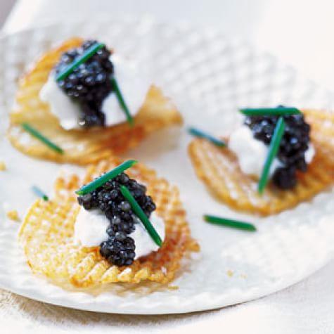 Gaufrette Potatoes with Caviar and Crème Fraîche