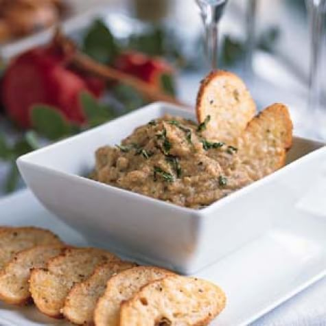 Spicy Eggplant Dip with Parmesan Toasts