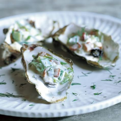 Warm Oysters with Leek and Bacon Sauce