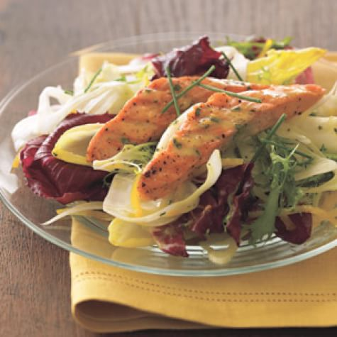Winter Greens Salad with Grilled Salmon