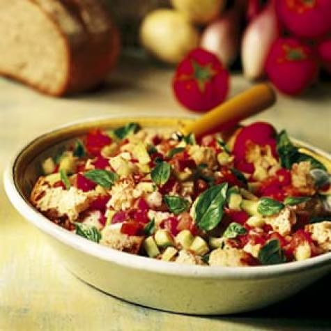 Bread Salad with Tomatoes and Lemon Cucumbers