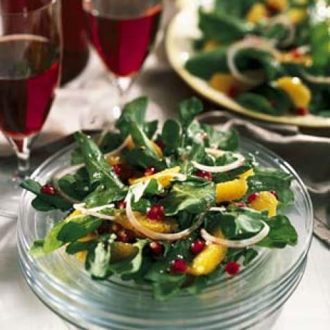 Arugula-Orange Salad with Pomegranate-White Wine Vinaigrette