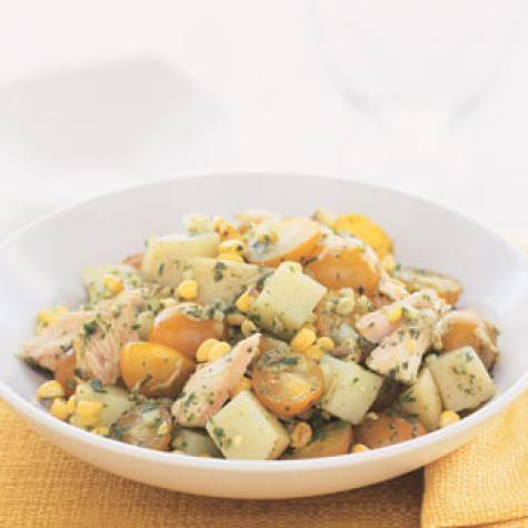 Grilled Salmon, Yellow Potato & Corn Salad