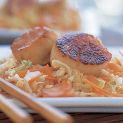 Miso-Glazed Scallops with Asian Slaw