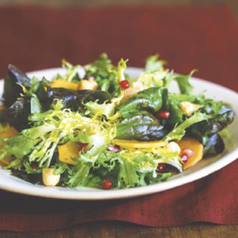 Red Oakleaf and Frisée Salad with Persimmons