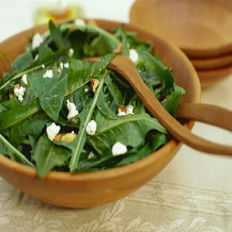 Dandelion Greens with Walnuts and Goat Cheese
