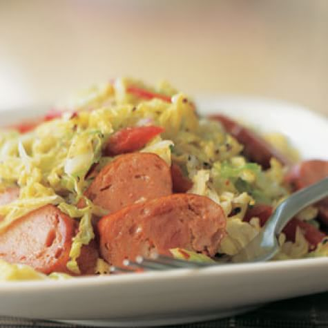 Sausages with Warm Cabbage Salad