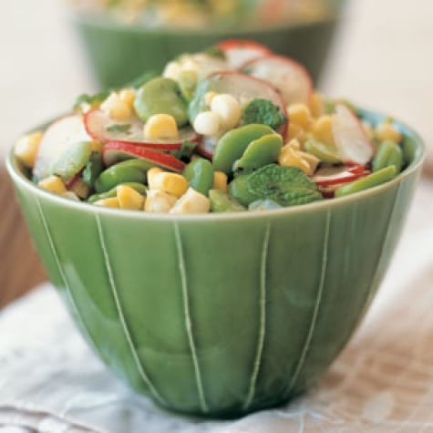 Fava Bean & Corn Salad with Fresh Mint