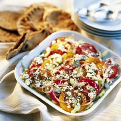Tomato, Cucumber and Onion Salad with Feta Vinaigrette