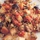 Grilled Eggplant, Corn and Bread Salad with Tomato-Basil Vinaigrette