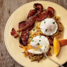 Garden Hash Browns with Poached Eggs and Bacon