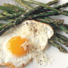 Roasted Asparagus with Fried Eggs and Parmesan