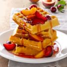 Cornmeal Waffles with Fresh Stone Fruits