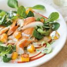 Smoked Trout and Apple Salad with Polenta Croutons