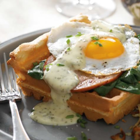 Eggs Florentine with Savory Waffles and Herbed Hollandaise ...