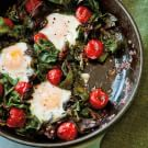 Polenta, Fried Eggs, Greens and Blistered Tomatoes