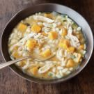 Orzo, Delicata Squash and Chicken Soup with Sage