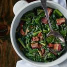 Collard Greens with Lardons and Smoked Onion Jam