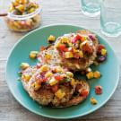 Crab and Jalapeño Burgers with Grilled Mango Salsa