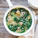 Turkey Meatball Soup with Spinach and Farro
